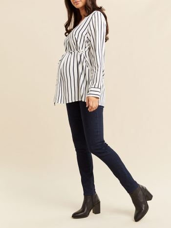 Printed Long Sleeve Popover Maternity Blouse