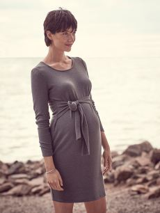 Long Sleeve Front Knot Maternity Dress