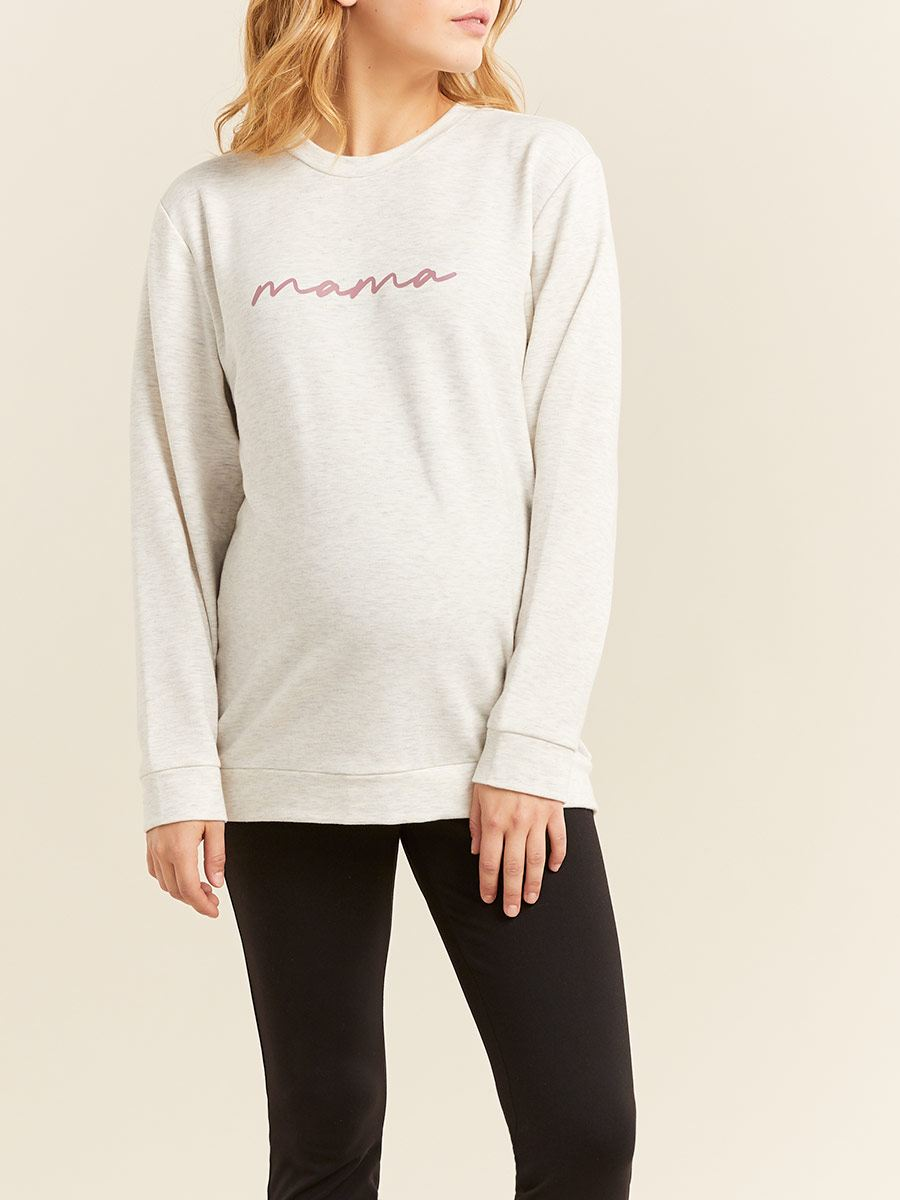 Printed Long Sleeve Maternity Sweatshirt