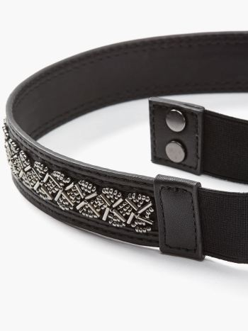 Faux-Leather Maternity Belt with Beads