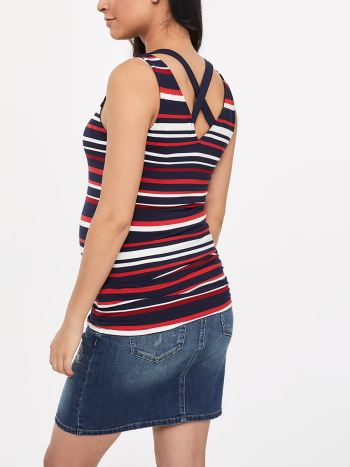 Striped Criss-Cross Maternity Cami