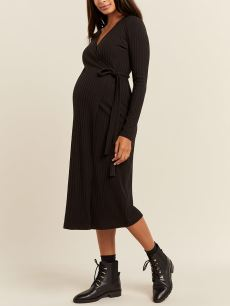 Stork & Babe - Ribbed Wrap Maternity Dress