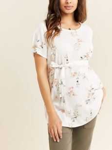 Printed Short Sleeve Belted Maternity Blouse