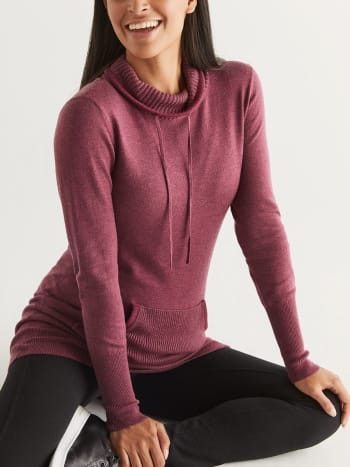 Cowl Neck Maternity Sweater with Kangaroo Pocket