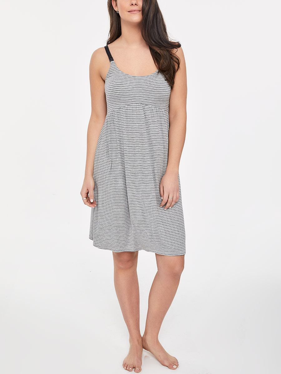 Striped Sleeveless Nursing Nighty