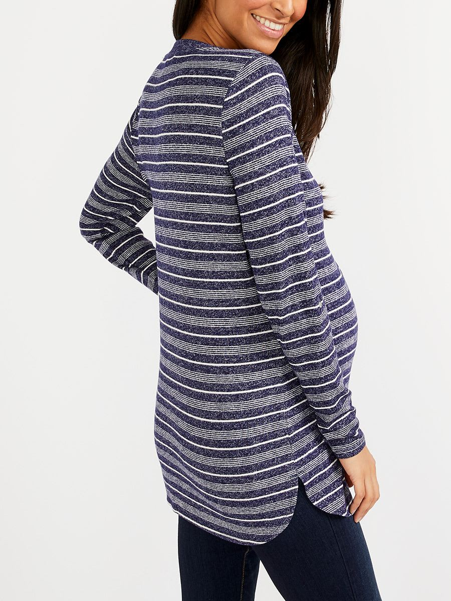 Long Sleeve Striped Nursing Henley Tunic