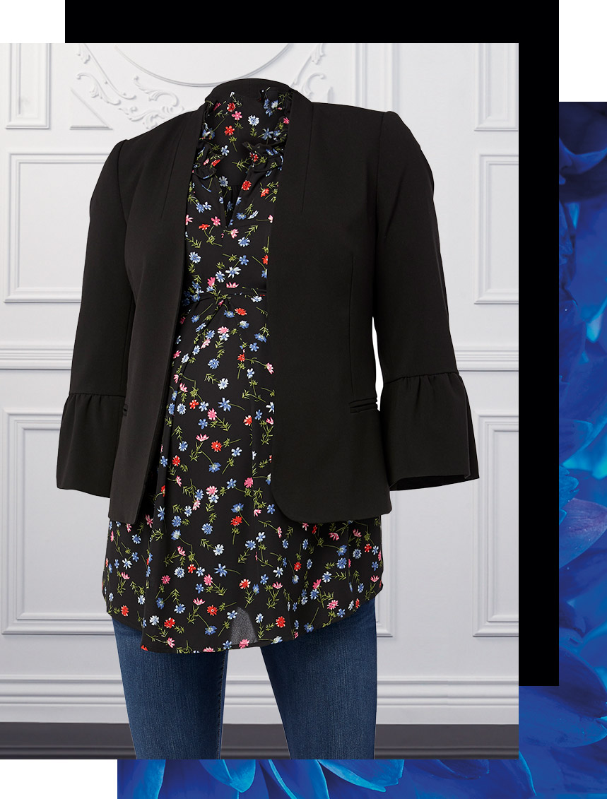 black blazer with a floral blouse