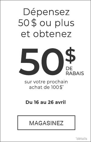 Recevez un coupon ou code promo de 50 $ à l'achat de 80 $ ou plus