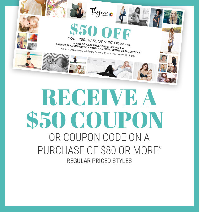 Receive a $ 50 coupon or coupon code on a purchase of $80 or more*