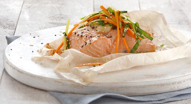 Recettes : Saumon aux légumes en papillote