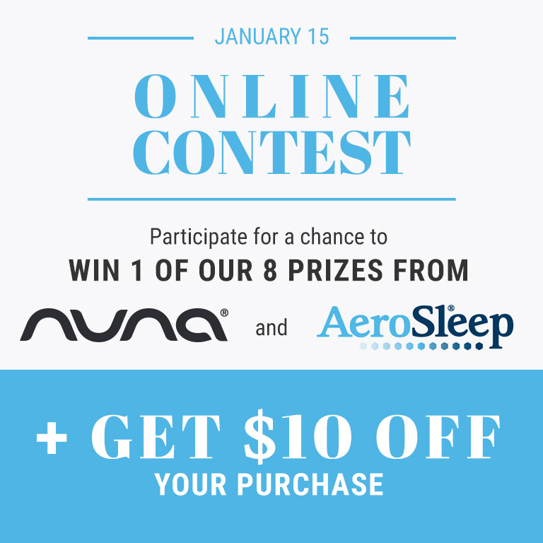 participate for a chance to win 1 of our 8 prizes from Nuna and Aero Sleep