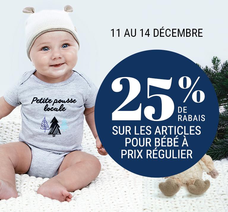 25 % de rabais sur les articles pour bébé