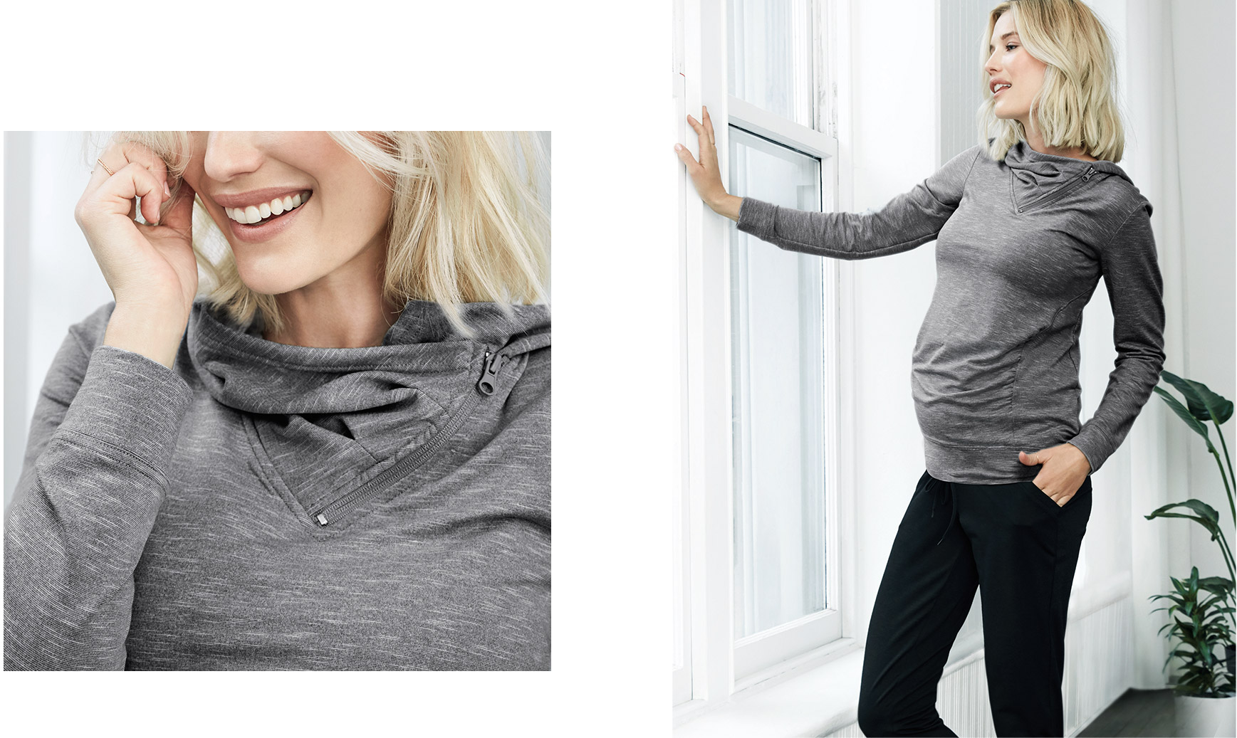 The Hoodie. Classic design meets an asymmetrical front zip